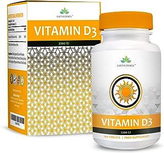 Vitamina D 2000 IU - Colecalciferol - Alta Concentración y Absorción - Vitamin D3 - Para Hombres y Mujeres - Apto Vegetarianos - 180 Pastillas (Suministro Para 12 Meses)