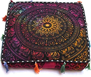 "Large Hippie Mandala Round Floor Pillow Cover Ottoman Pouf Cover Daybed Cotton Cushion Cover with Heavy Duty Zipper Seating Ottoman Poufs Dog-Pets Bed (MUlti Elephant Flower, 18"" Square)"