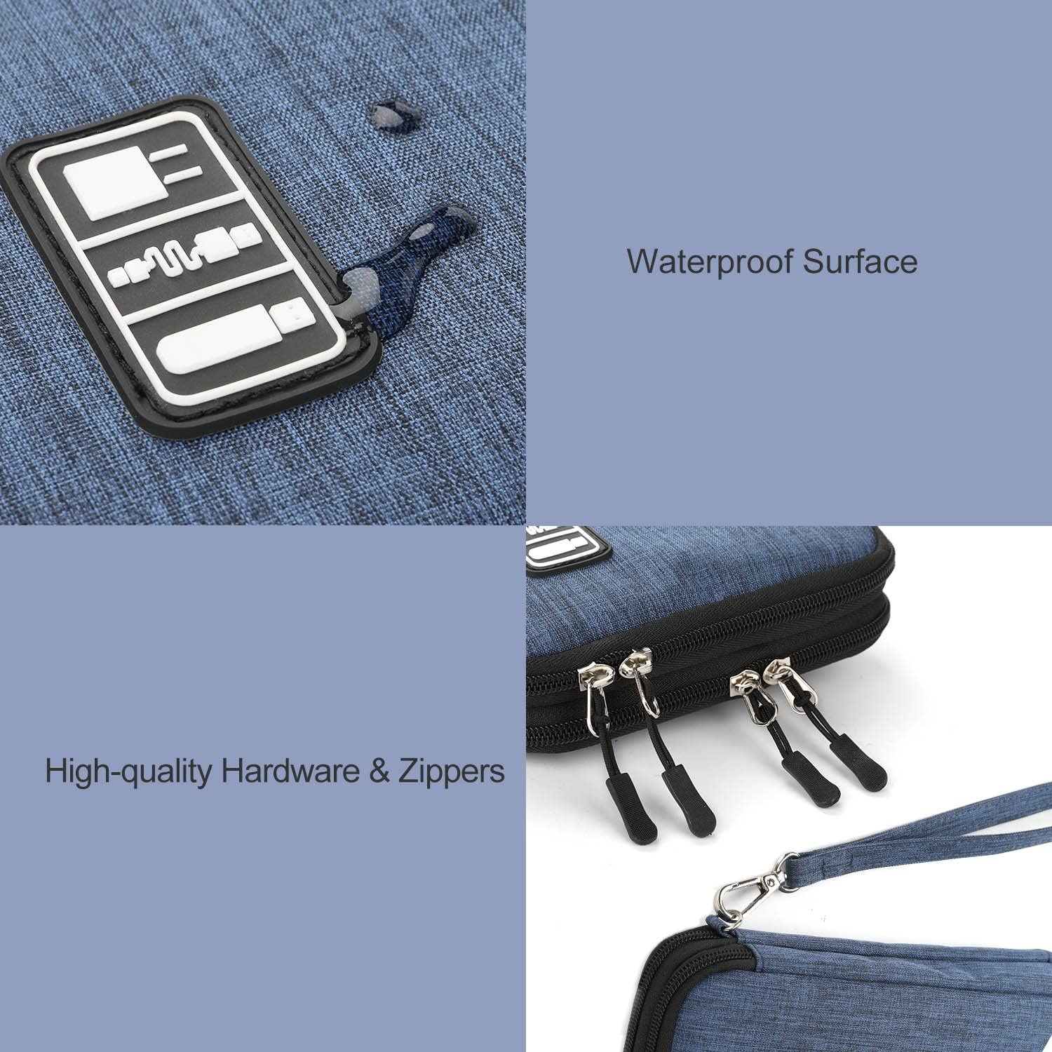 Black and Grey, Medium Jelly Comb Electronic Accessories Cable Organizer Bag Waterproof Travel Cable Storage Bag for Charging Cable Mini Tablet and More Cellphone Electronics Organizer