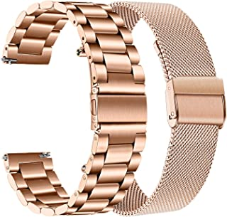 Rose Gold Band Sets for Samsung Galaxy Watch 42mm / Active 2 40mm 44mm / Watch3 41mm Women, TRUMiRR 20mm 2 Pack Solid Stai...