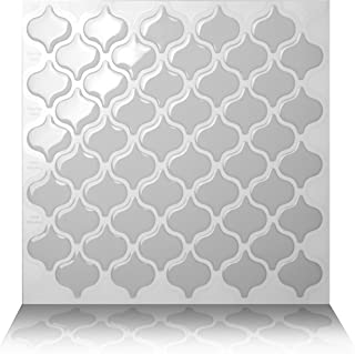 Tic Tac Tiles 5-Sheet Peel and Stick Self Adhesive Removable Stick On Kitchen Backsplash Bathroom 3D Wall Sticker Wallpaper Tiles in Damask Grigio