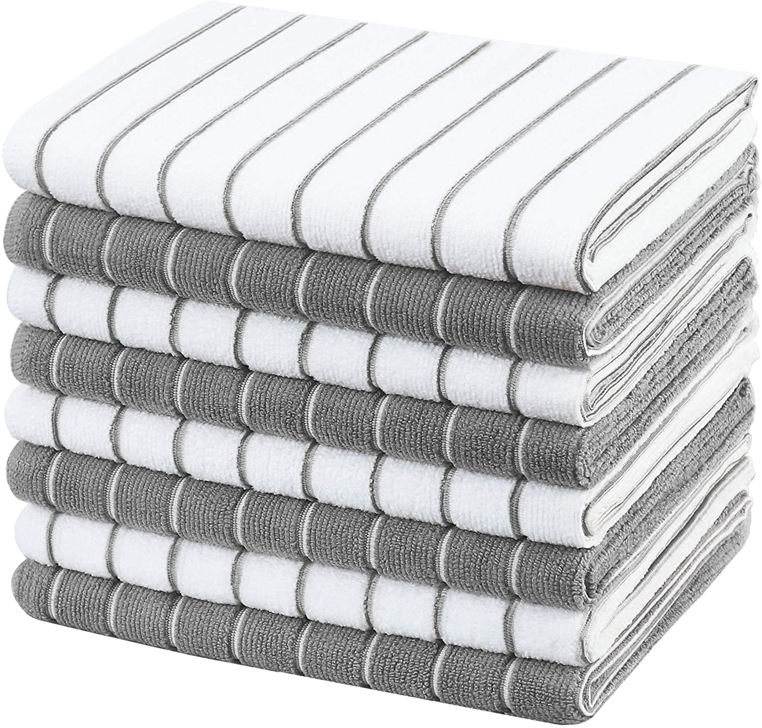 Amazon Com Gryeer Microfiber Kitchen Towels Stripe Designed Soft And Super Absorbent Dish Towels Pack Of 8 18 X 26 Inch Gray And White Kitchen Dining