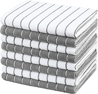 Gryeer Microfibre Tea Towels - Pack of 8 (Stripe Designed Grey and White Colours) - Soft, Super Absorbent and Lint Free Ki...