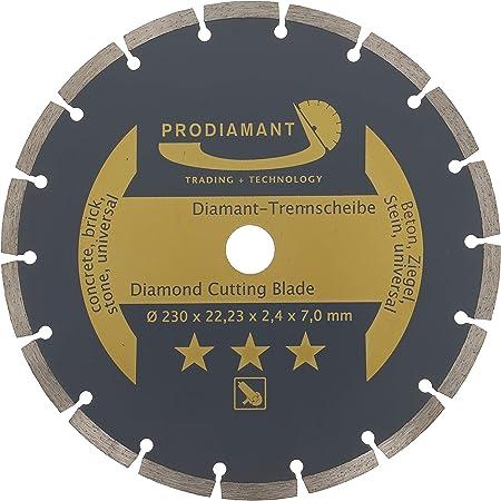 PRODIAMANT Disco de corte de diamante universal de 230 x 22,2 mm Hormigón, piedra, ladrillo Disco de diamante de 230 mm Segmento de 7 mm