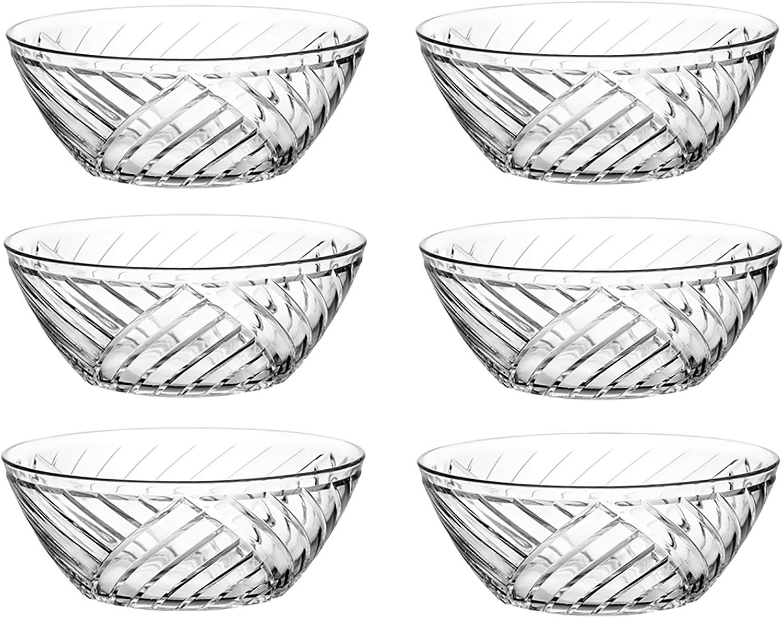 Zanzer 6-Piece Etched Diagonal Pattern Goo trust Glass LIDS Oakland Mall NO Bowls
