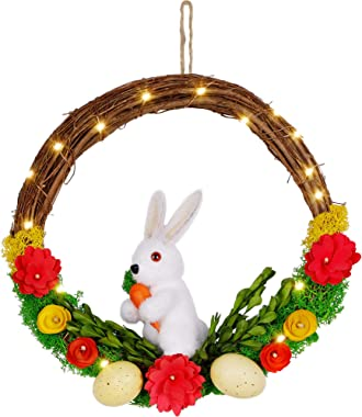 Floppada Lighted Easter Bunny Spring Wreath, Rabbit and Easter Egg, Handmade with Pure Natural Materials, Battery Operated, P
