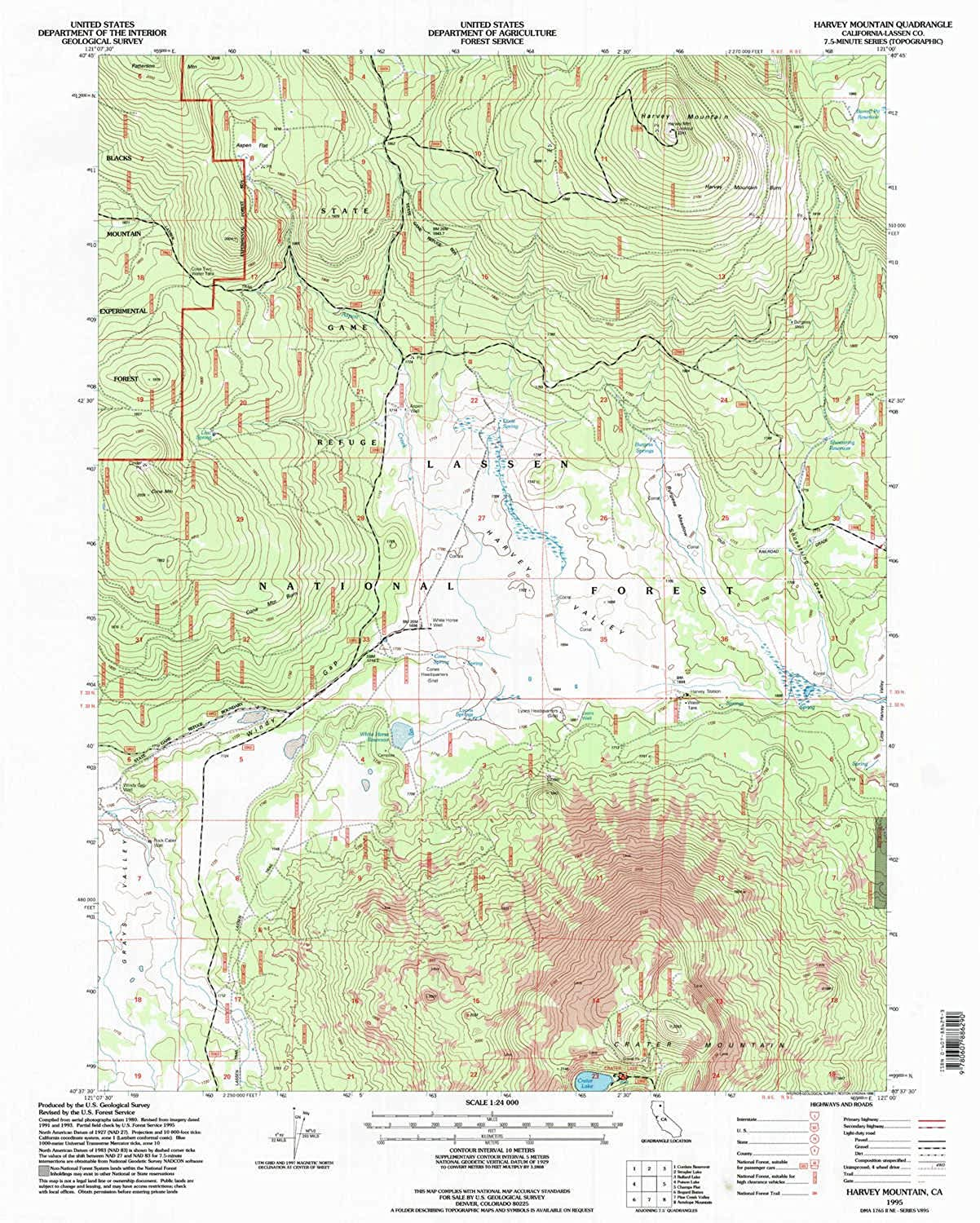 Harvey Mountain CA topo map, 1 24000 Scale, 7.5 X 7.5 Minute, Historical, 1995, Updated 1998, 26.7 x 21.4 in