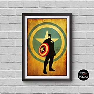 The Avengers Captain America Minimalist Vintage Poster Avengers Collectibles Print Steve Rogers Chris Evans The First Avenger Winter Soldier Civil War Artwork Home Decor Wall Hanging Cool Gift