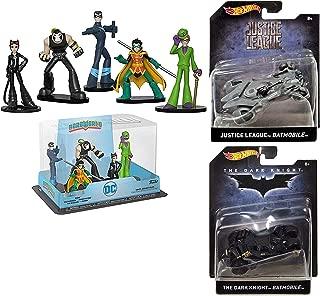 Hot Wheels DarkBat Batman Series DC Collection 2 Super Hero Batmobile BatmanDark Knight /Justice League Gray 1:50 Scale die-cast + Bundled with Bane, Catwoman, Nightwing, Riddler & Robin Figures