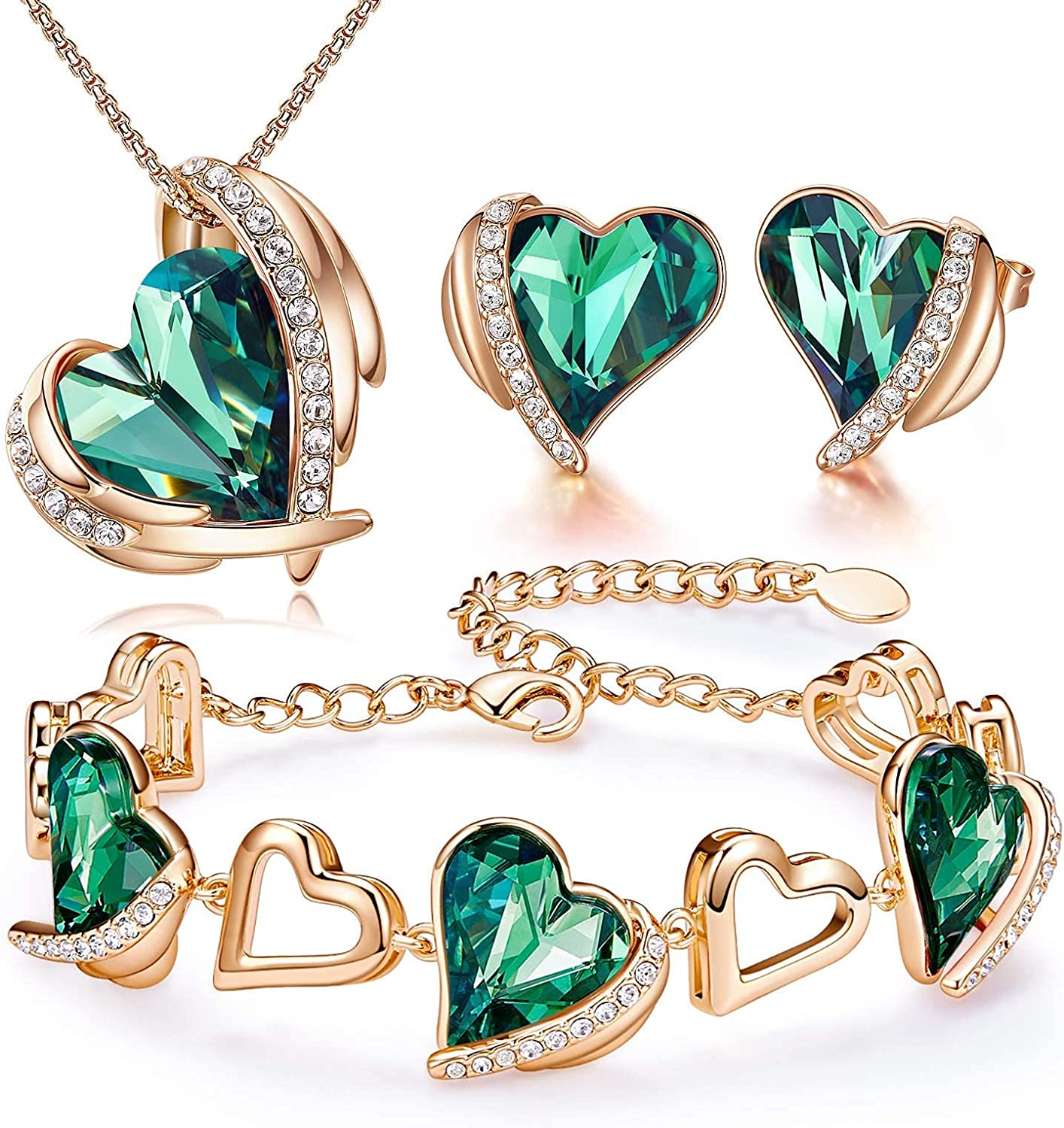 CDE Love Heart Necklace and Earrings Bracelet Rose Gold Plated Jewelry Sets for Women