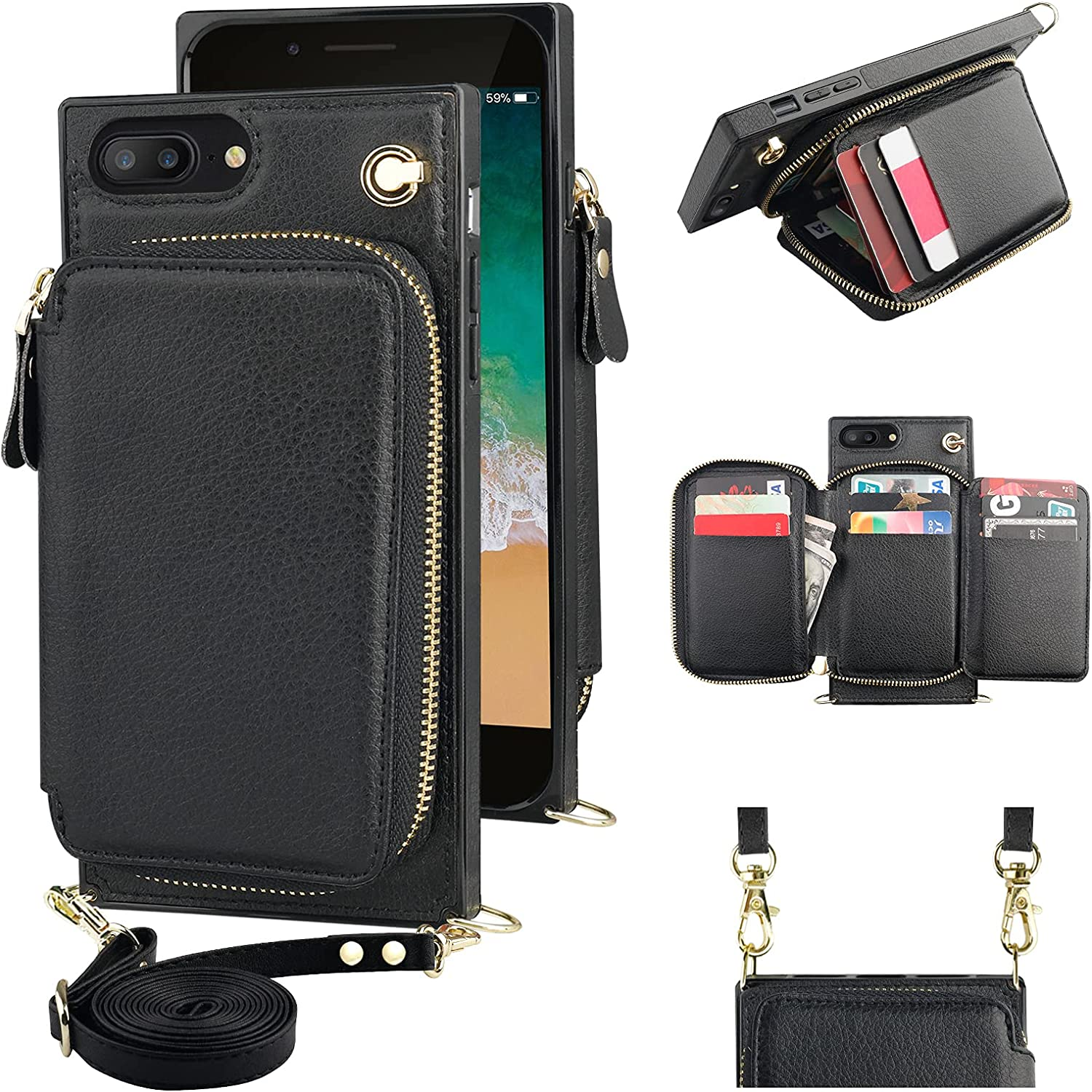 KIHUWEY iPhone 11 Crossbody Wallet Baltimore Mall PU All items free shipping w Leather Case