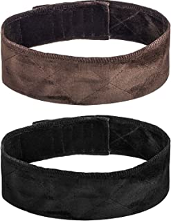 2 Pack Velvet Wig Grip Band Comfort Head Hair Band Adjustable Fastern (Black and Brown)
