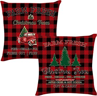FUTERLY Christmas Pillow Covers 18×18 Inches-White Square Christmas Throw Pillow Covers with Zipper- Christmas Tree Cotton...