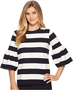 LAUREN Ralph Lauren - Striped Ponte Bell-Sleeve Top