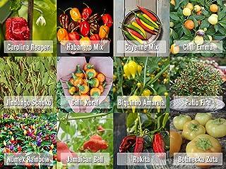 Prademir Samen Chili Set aus Portugal 12 x 100% Natur Premiumsamen saatgut alte sorten Carolina Reaper und andere Chili Samen