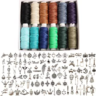 FANDOL Waxed Cords Metal Charms Set for Macrame Bracelet DIY Necklace Jewelry Making Crafting and Beading (12 Dark Color C...