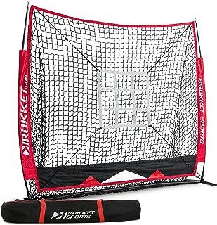 Rukket 5x5 Baseball & Softball Net | Practice Hitting, Pitching, Batting and Catching | Backstop Screen Equipment Training Aids | Strike Zone Target