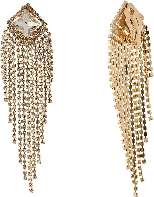 Topwholesalejewel Fashion Jewelry Earrings Gold Plating Chandlier Clip On Dangle Earrings