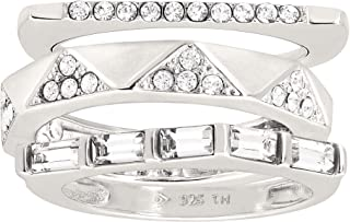 Modern Edge' Stacking Rings with Swarovski Crystals in Sterling Silver