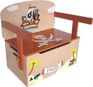 comprar comparacion Kiddi Style Caja Almacenaje Juguetes + Banco y Mesa + Silla – Diseño Piratas - Convertible - Madera - par ninos
