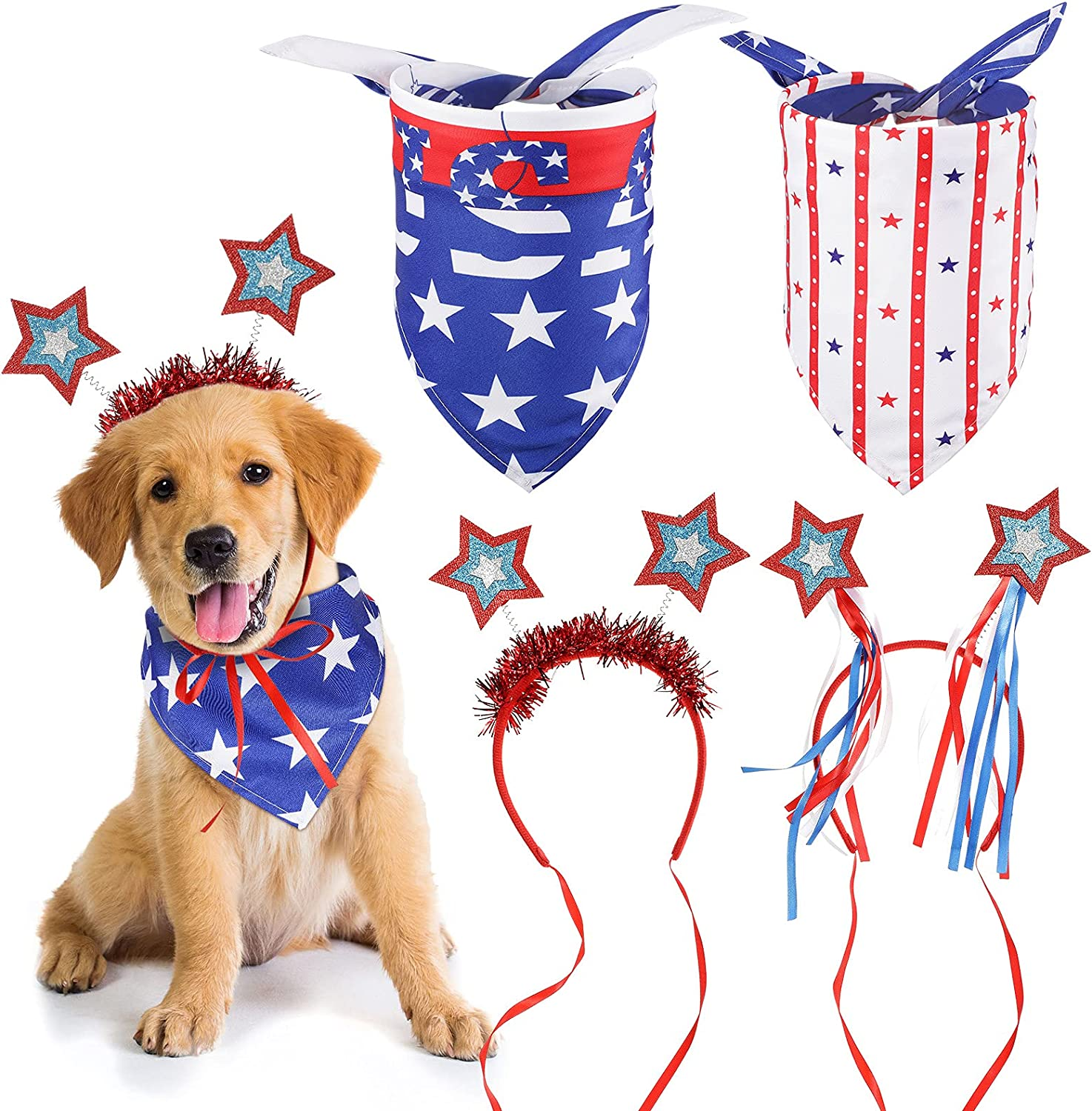 2 Pieces American Flag Courier shipping free shipping Dog Bandanas and Pie Triangle Scarf Pet Max 82% OFF