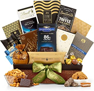GiftTree Encore Gourmet Get Well Gift Basket   Ghirardelli Chocolates, Lindt Chocolates, English Toffee Caramels, White Cheddar Popcorn, Roasted Nuts & more.   Send Healing Thoughts