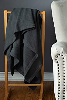 Sticky Toffee Manta de Tiro Liviana Tejida de algodón Gris | 152 cm x 127 cm | Manta cálida y Suave para sofá Cama y Cama