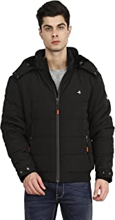 HIVER Men's Nylon Jacket 100% Water Proof Full-Sleeved Winter Jacket with Hood for Minus Degree