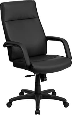 Flash Furniture High Back Black LeatherSoft Executive Swivel Ergonomic Office Chair with Memory Foam Padding and Arms