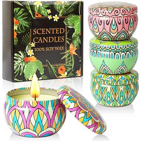 Set regalo candele profumate,4 lattine di cera di soia naturale al 100% con oli essenziali per alleviare lo stress,4 fragranze per aromaterapia, bagno, yoga, perfette per compleanno,festa della mamma
