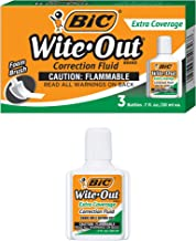 BIC Wite-Out Brand Extra Coverage Correction Fluid, 20 ml, White, 3-Count