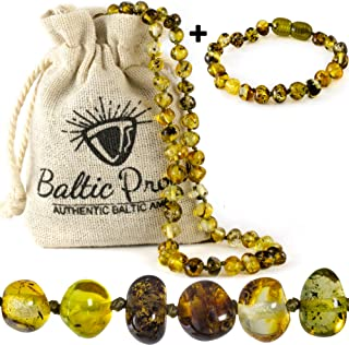 Baltic Amber Necklace and Bracelet Gift Set (Unisex Green Forest) - Certified Highest Quality Raw Baltic Amber