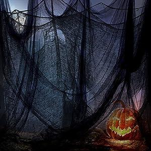 Halloween Black Creepy Cloth 314 x 87 Inch Spooky Mesh Gauze Fabric Scary Halloween Decorations for Outdoor Haunted House Doorways Wall Yard Windows Decor Halloween Party Supplies