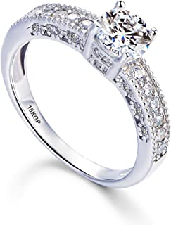 AndreAngel Engagement Wedding Ring Women White Gold Plated 18K 3 Microns Thickness / 6 mm 0.75...