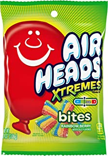 Airheads Xtremes Bites Sweetly Sour Candy Peg Bag, Rainbow Berry, Halloween Candy, Bulk, Non Melting, 3.8 Ounce (Bulk Pack...