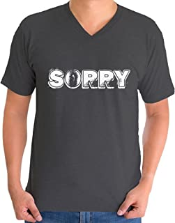 Awkward Styles Men's Sorry Funny V-Neck T Shirt Tops White Sorry Quote