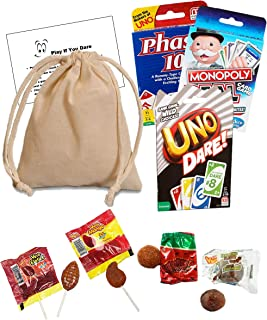 Drawstring Bag Uno Dare Card Game Spicy Lollipop Challenge Bundle - Uno Dare Cards Phase 10 Cards Monopoly Deal Cards Spicy Mexican Candy Sucker Challenge for Adults and Kids - 29 Piece Pack