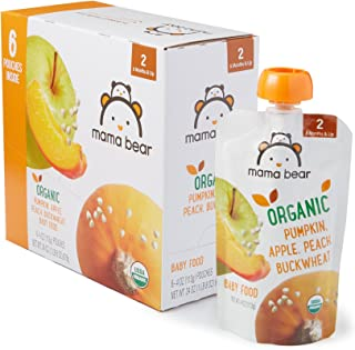 Amazon Brand – Mama Bear Organic Baby Food, Stage 2, Pumpkin Apple Peach Buckwheat,..