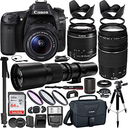 $1099 Get Canon EOS 80D DSLR Camera with 18-55mm Lens, 75-300mm Lenses (1263C005) & 500mm Preset Lens with 2x adapter(1000) & Professional Accessory Bundle – Includes: SanDisk Ultra 64GB SDHC Memory Card & MORE