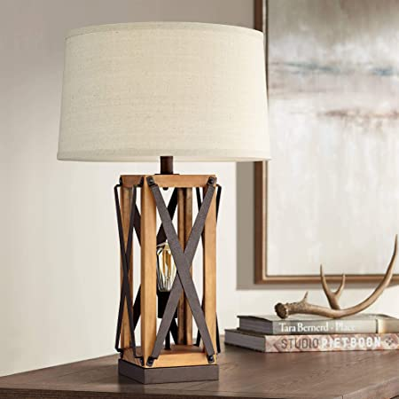 Gaines Farmhouse Style Table Lamp with Nightlight LED Bronze Wood Tone Off White Burlap Tapered Drum Shade for Living Room Bedroom House Bedside Nightstand Home Office Family - Franklin Iron Works