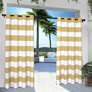 Exclusive Home Curtains Indoor/Outdoor Stripe Cabana Grommet Top Curtain Panel Pair, 54x84, Sundress, 2 Count