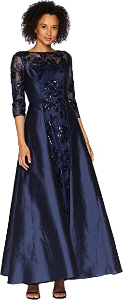 sheath drapes papell s dress drape plus nordstrom adrianna lace yoke c overlay women dresses size gown