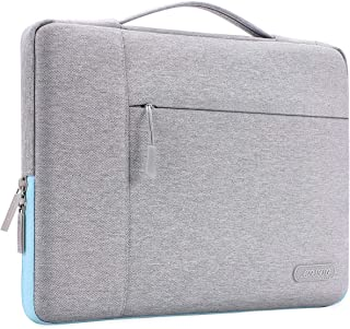 MOSISO Laptop Briefcase Handbag Compatible with 13-13.3 Inch MacBook Air, MacBook Pro, Notebook Computer, Polyester Multifunctional Carrying Sleeve Case Cover Bag, Gray & Hot Blue