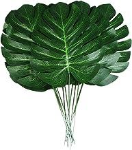 QAQGEAR Lot de 60 Feuilles artificielles 7 Sortes 2 Couleurs Dor/é avec tiges artificielles Plante Tropicale Faux Feuilles pour Hawa/ïen Luau Aloha Jungle Plage Mariage Anniversaire D/écorations