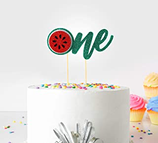 1st (First Birthday Cake Topper Decoration ( Watermelon ) - One - with Double Sided Glitter Stock)
