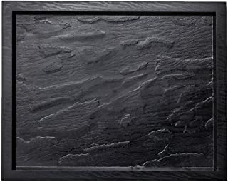 """Party Essentials 13.25""""x 10.6"""" Hard Plastic Rectangular Rustic Slate-Look Disposable Serving Tray, 1-Count"""
