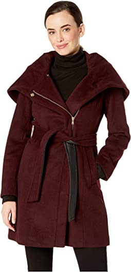 Slick Wool Belted Jacket with Oversized Hood