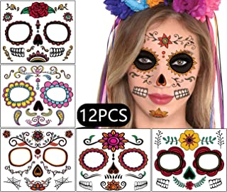 Sugar Skull Face Temporary Tattoos - Day of the Dead Halloween Masquerade Party Decorations Supplies