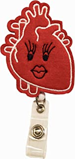 Anatomical Heart Nurse Retractable Badge Reel Holder – Nursing Name Badge Holder – Felt Badge Reel for Nurses, Students & Doctor – Cute & Practical ID Badge Holder – Alligator Clip – Easy to Use