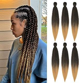 Braiding Hair Pre Stretched 22 Inch Ombre Box Braids Crochet Hair Hot Water Setting 6 Packs Yaki Texture Hair Extensions(1...